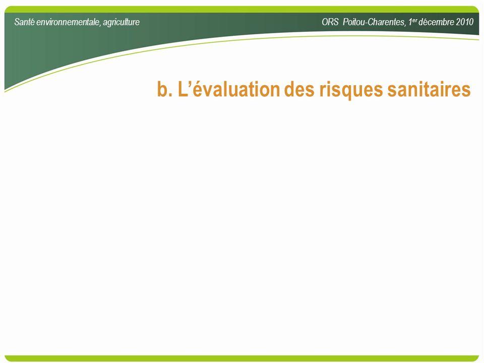 b. L'évaluation des risques sanitaires