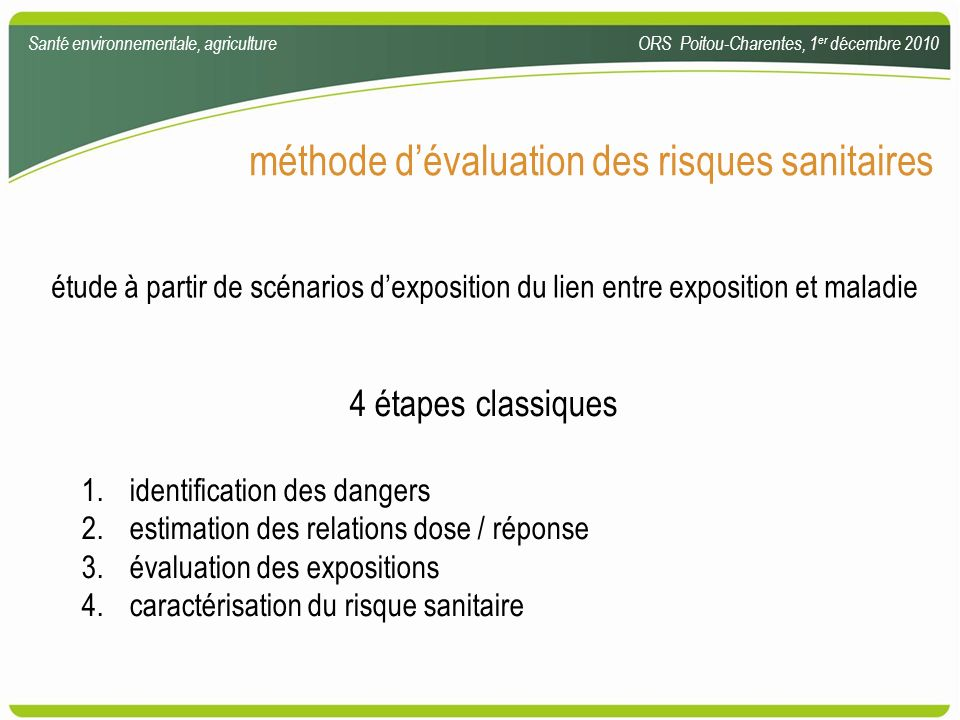 méthode d'évaluation des risques sanitaires