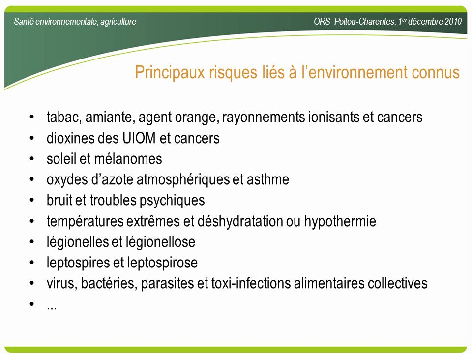 Principaux risques liés à l'environnement connus