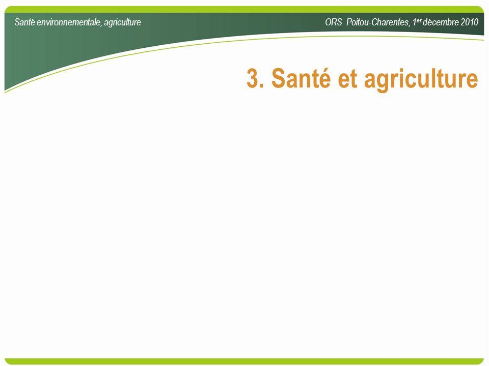 3. Santé et agriculture Santé environnementale, agriculture