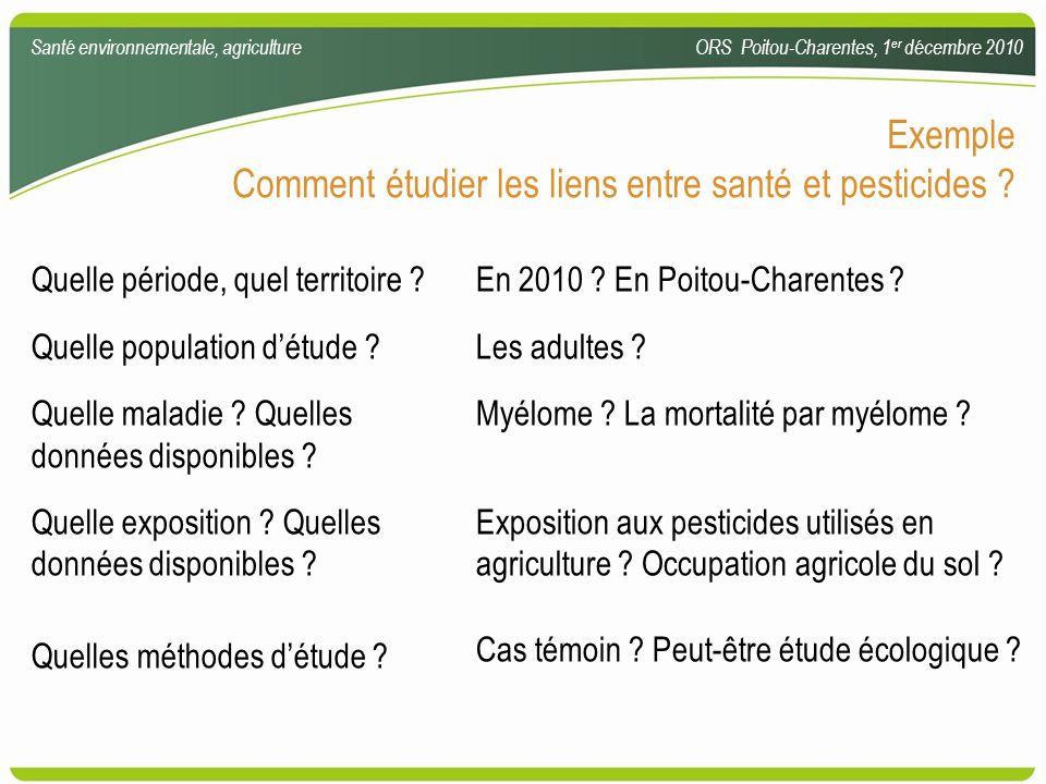 Comment étudier les liens entre santé et pesticides