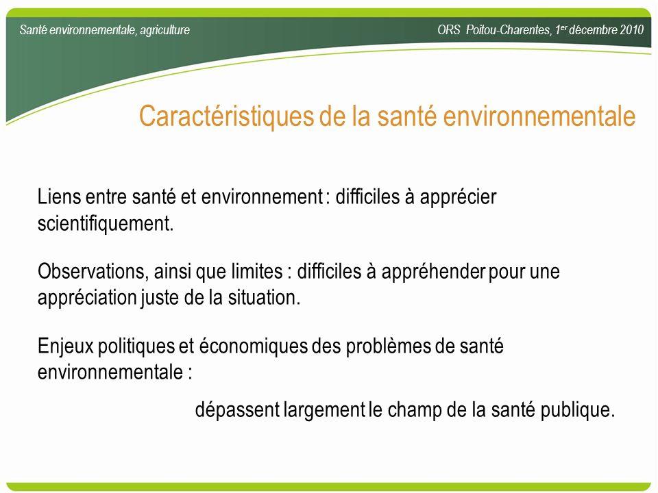 Caractéristiques de la santé environnementale