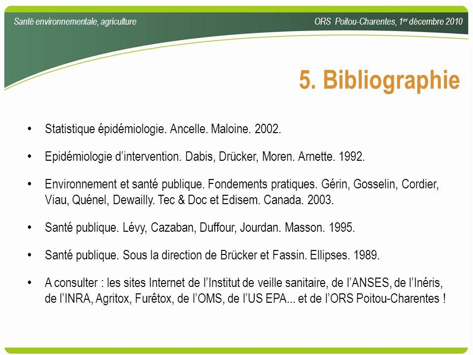 5. Bibliographie Statistique épidémiologie. Ancelle. Maloine. 2002.