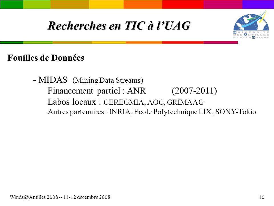 Recherches en TIC à l'UAG