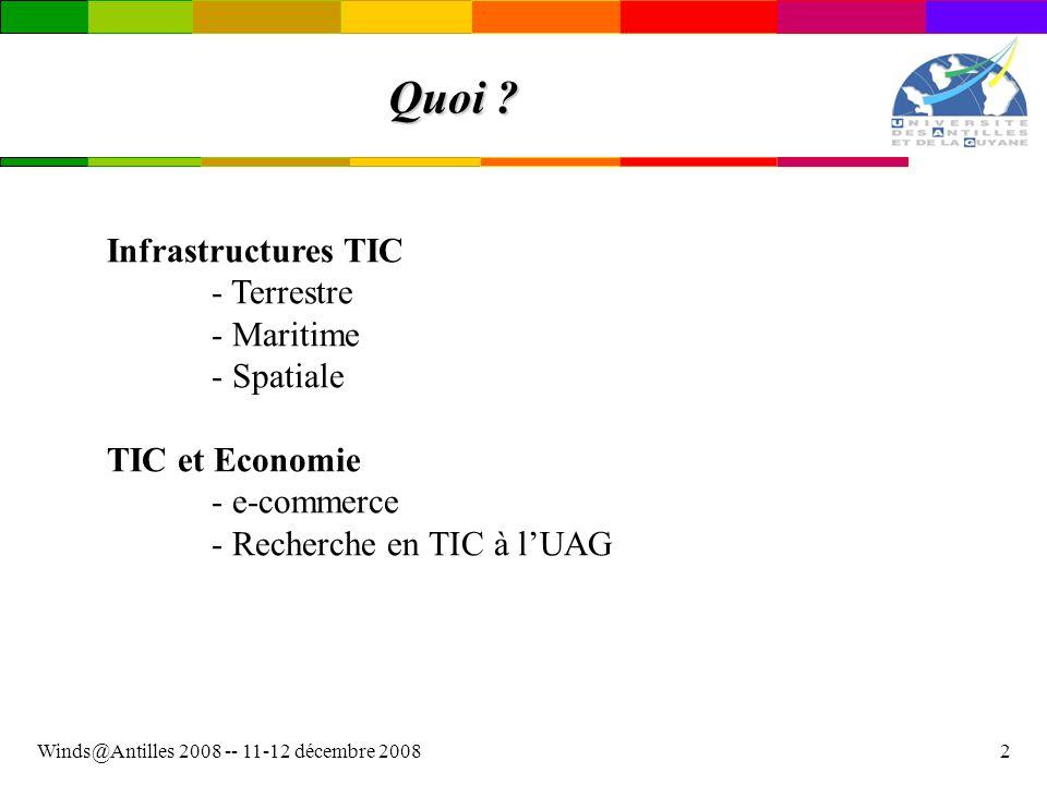 Quoi Infrastructures TIC - Terrestre - Maritime - Spatiale