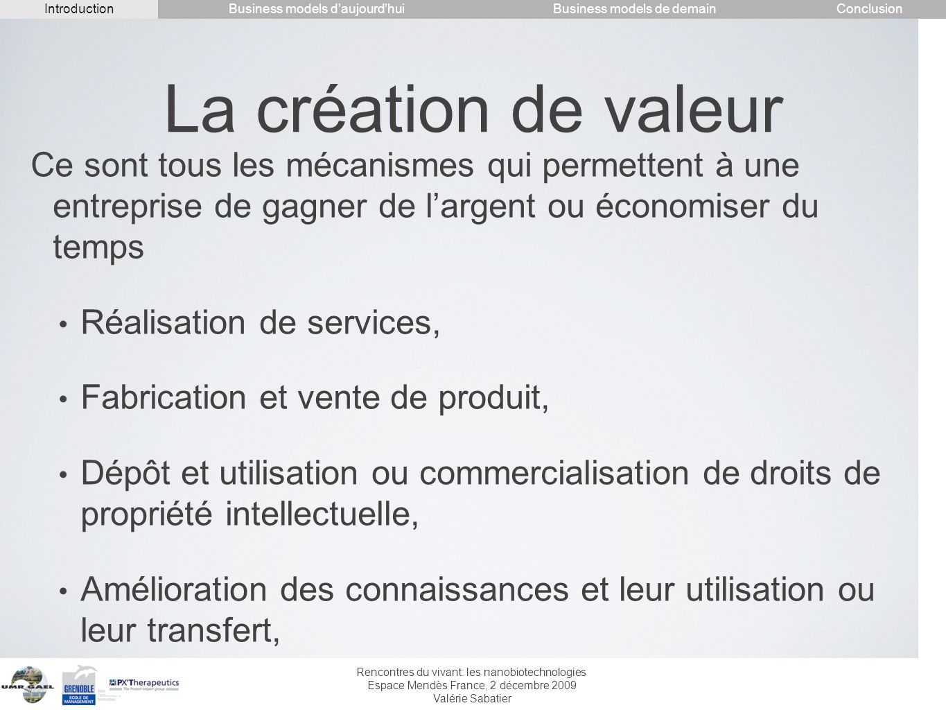 Introduction Conclusion. Business models d'aujourd'hui. Business models de demain. La création de valeur.