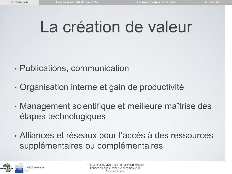 La création de valeur Publications, communication