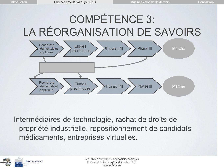 COMPÉTENCE 3: LA RÉORGANISATION DE SAVOIRS