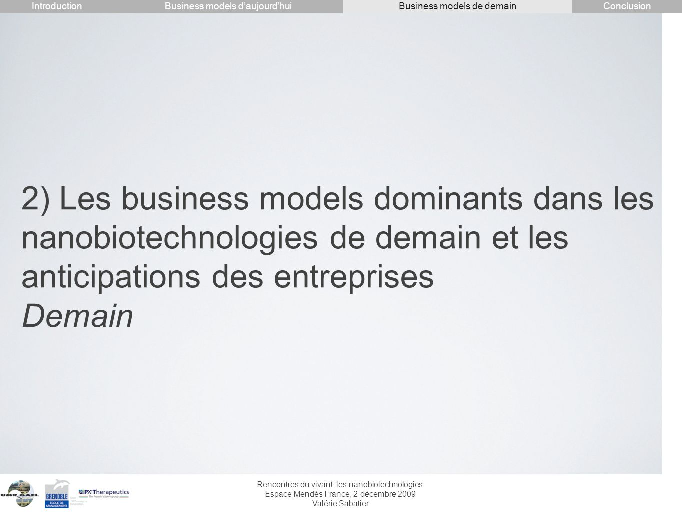 Introduction Conclusion. Business models d'aujourd'hui. Business models de demain.