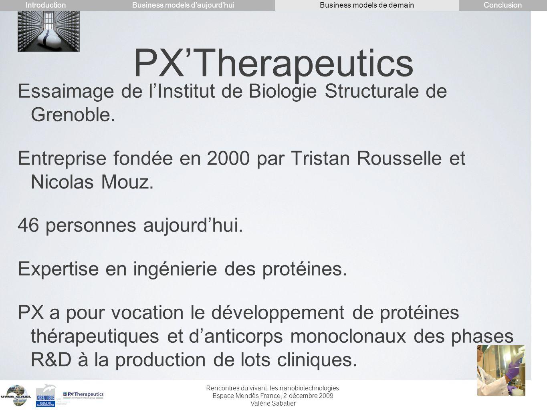 IntroductionConclusion. Business models d'aujourd'hui. Business models de demain. PX'Therapeutics.