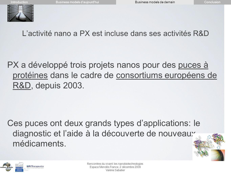 L'activité nano a PX est incluse dans ses activités R&D