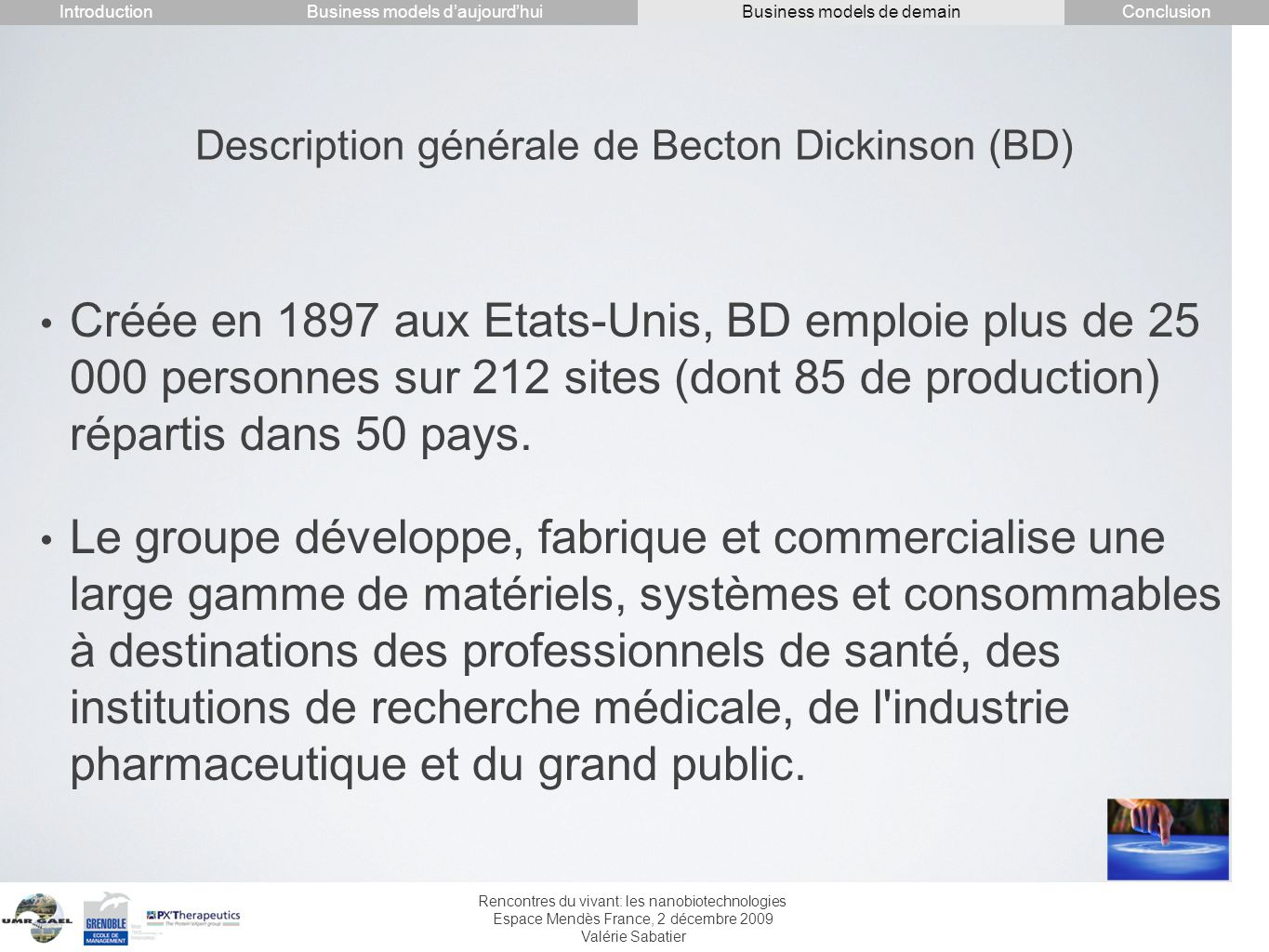 Description générale de Becton Dickinson (BD)