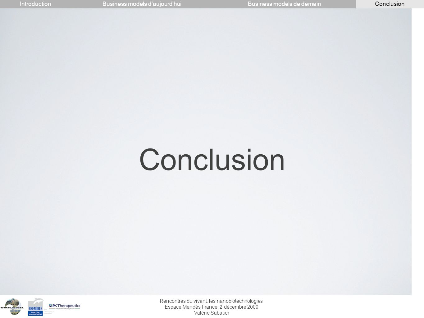 Conclusion Introduction Conclusion Business models d'aujourd'hui
