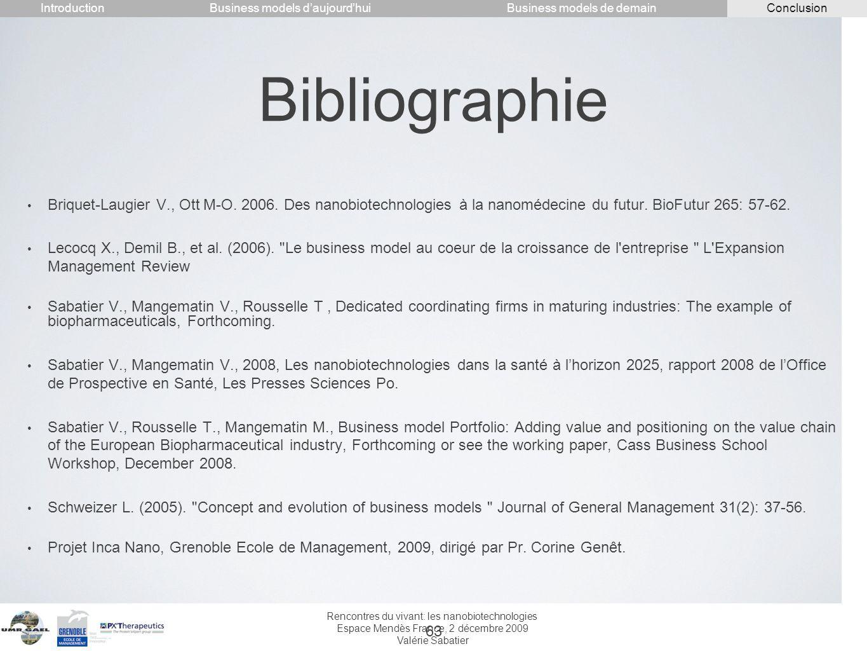 IntroductionConclusion. Business models d'aujourd'hui. Business models de demain. Bibliographie.