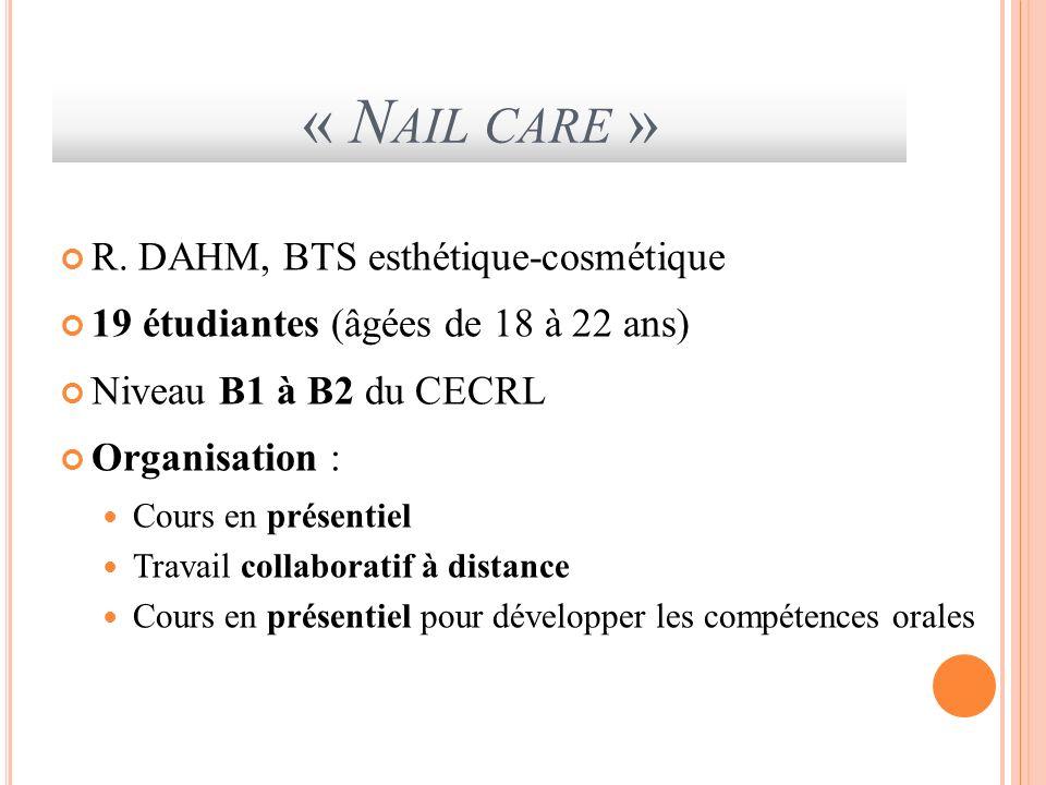 « Nail care » R. DAHM, BTS esthétique-cosmétique