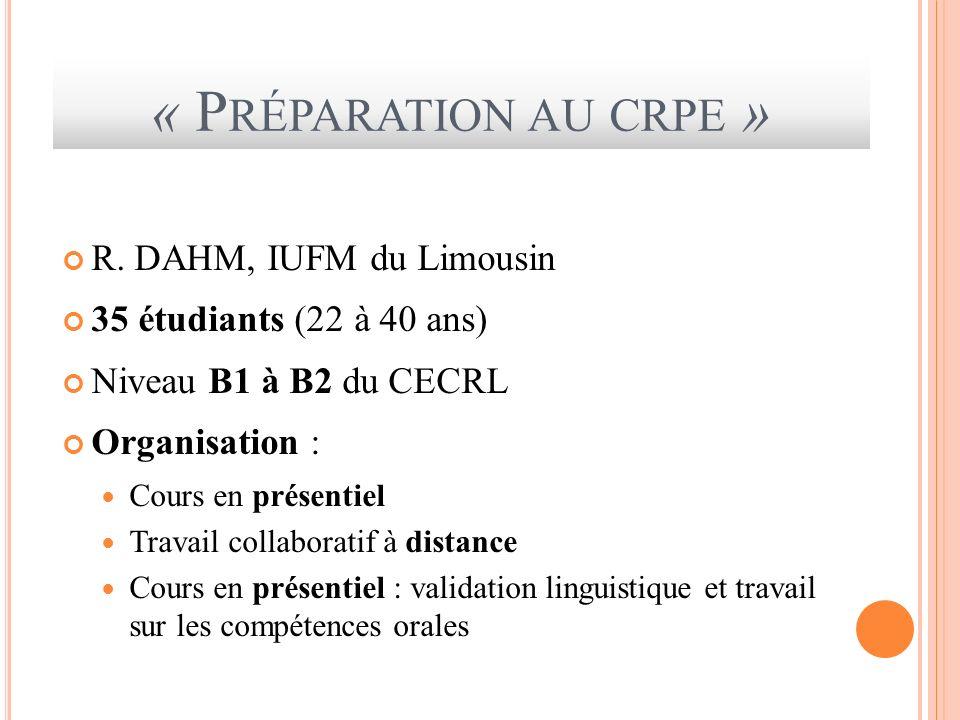 « Préparation au crpe » R. DAHM, IUFM du Limousin