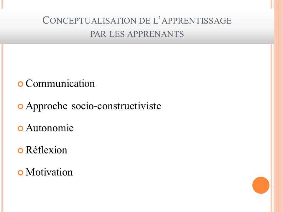 Conceptualisation de l'apprentissage par les apprenants