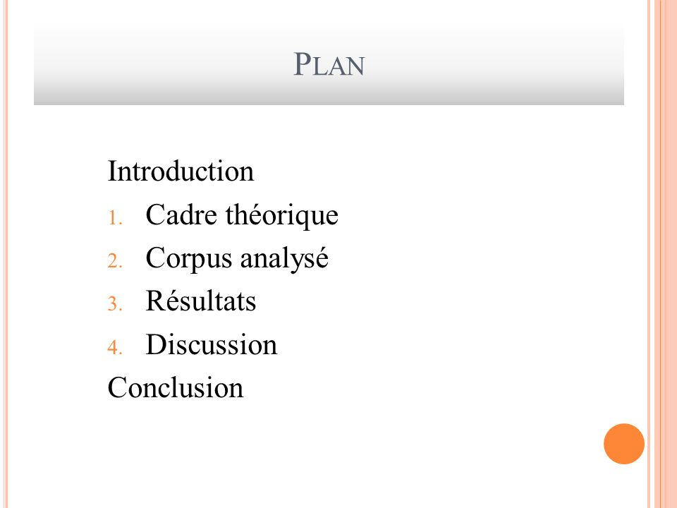 Plan Introduction Cadre théorique Corpus analysé Résultats Discussion