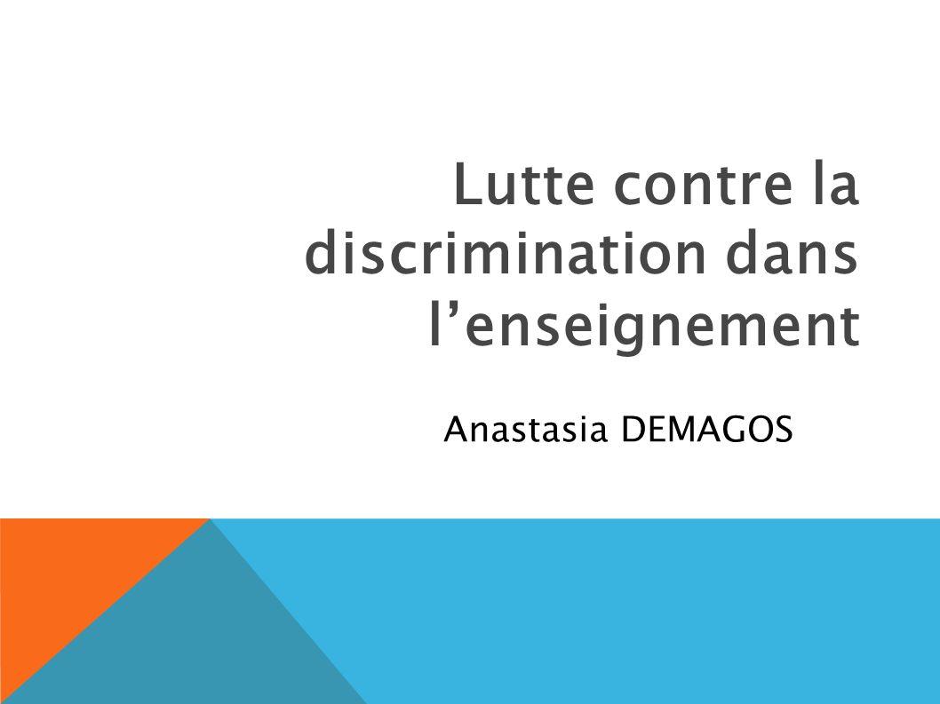 Lutte contre la discrimination dans l'enseignement