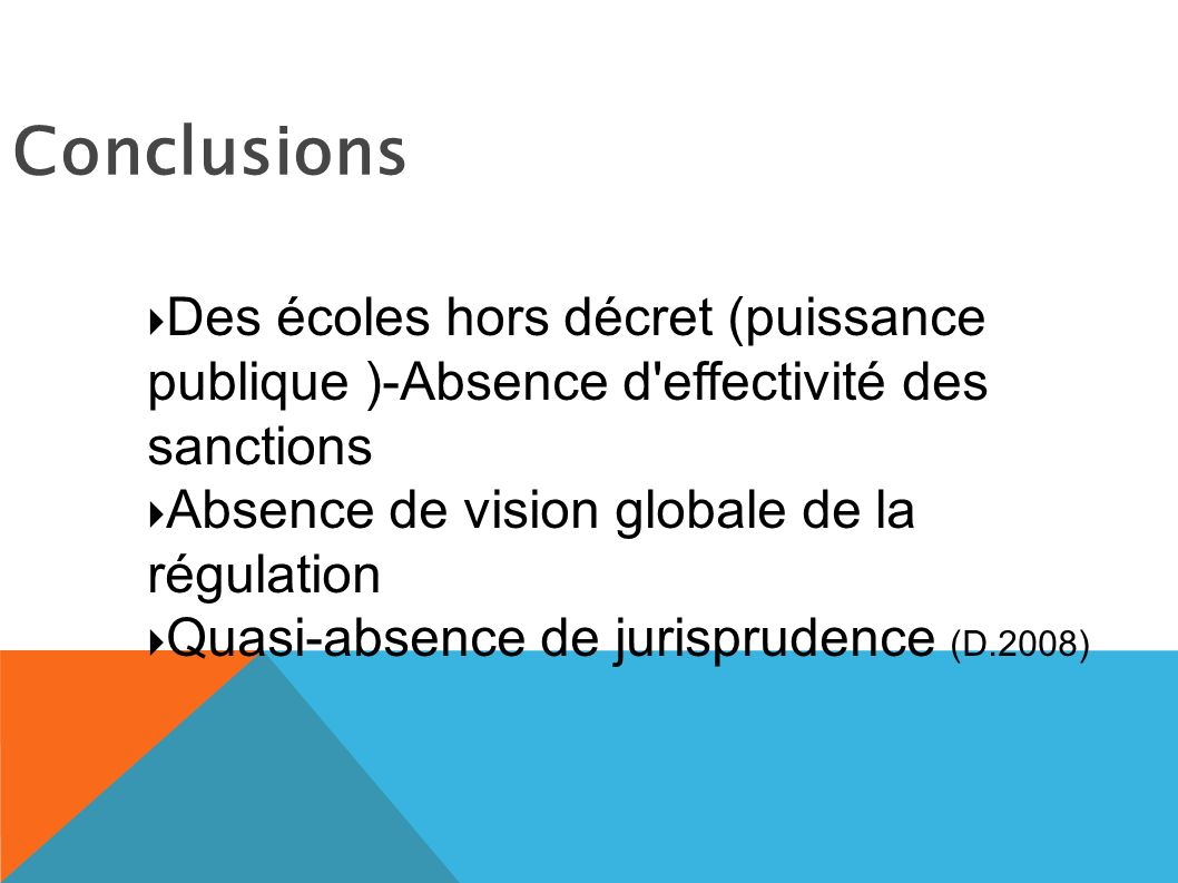 Conclusions Des écoles hors décret (puissance publique )-Absence d effectivité des sanctions. Absence de vision globale de la régulation.