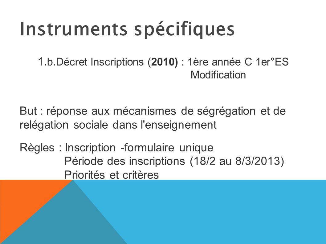1.b.Décret Inscriptions (2010) : 1ère année C 1er°ES