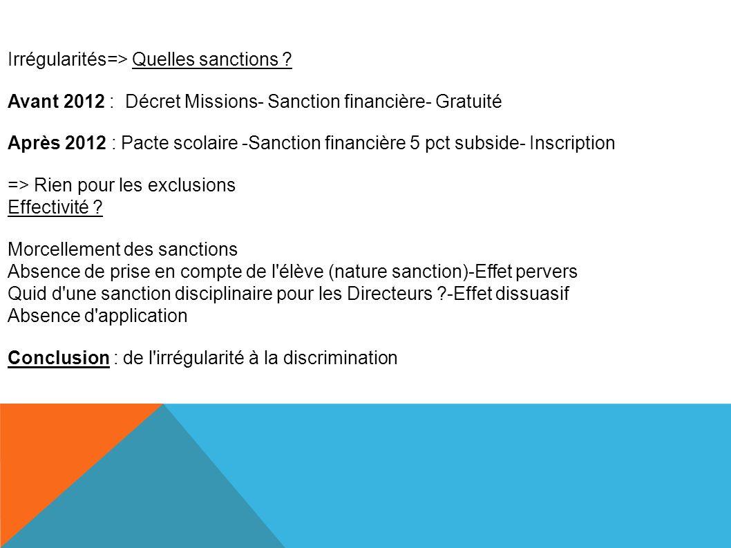 Irrégularités=> Quelles sanctions