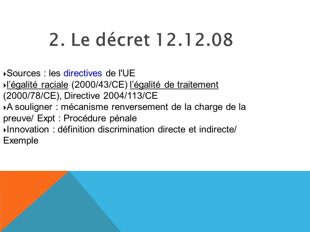2. Le décret 12.12.08 Sources : les directives de l UE