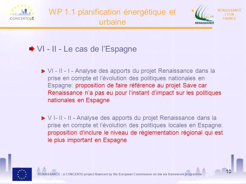 WP 1.1 planification énergétique et urbaine
