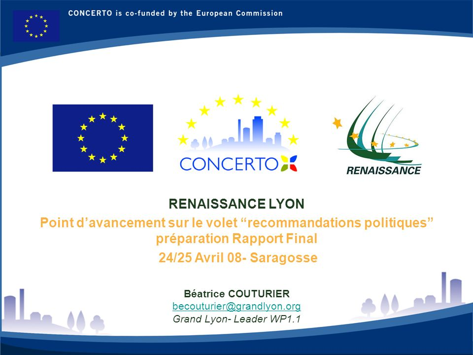 RENAISSANCE LYON Point d'avancement sur le volet recommandations politiques préparation Rapport Final.