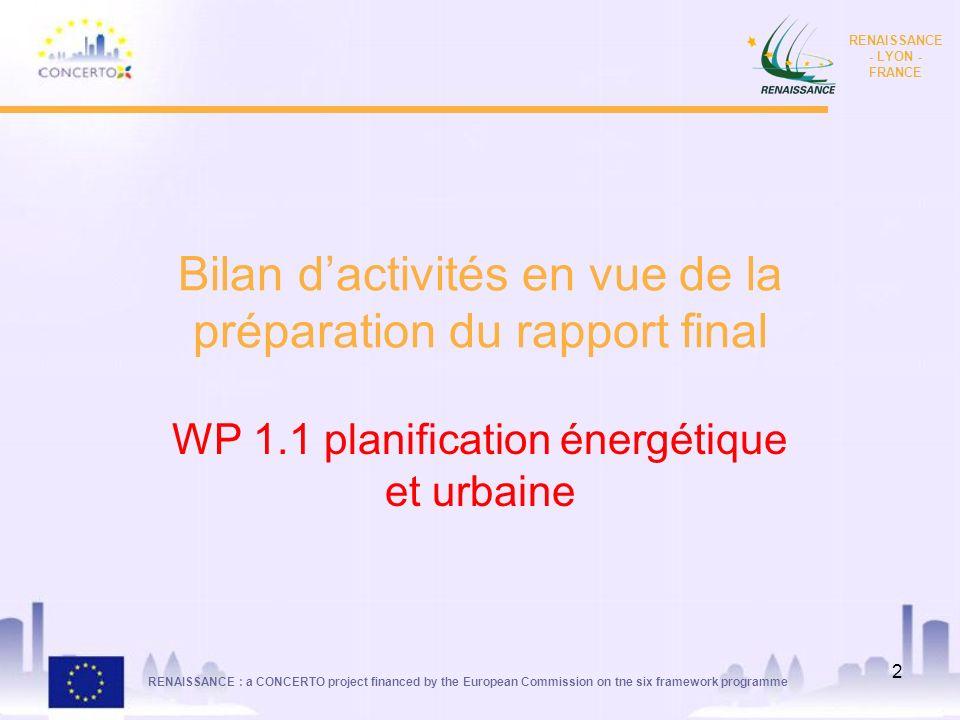 Bilan d'activités en vue de la préparation du rapport final