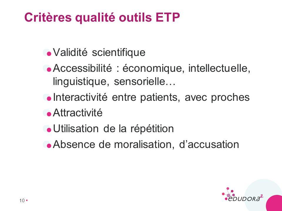 Critères qualité outils ETP
