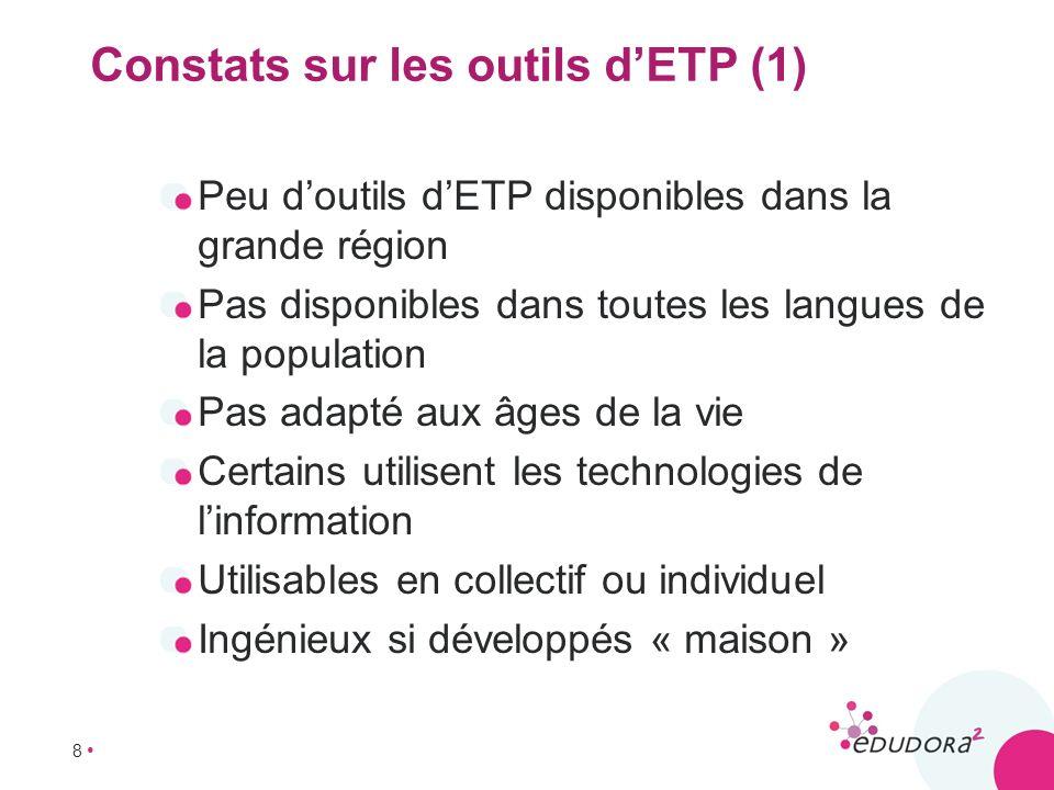 Constats sur les outils d'ETP (1)