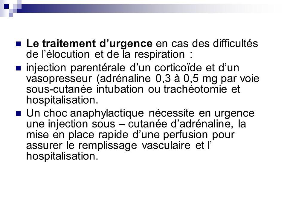 Le traitement d'urgence en cas des difficultés de l'élocution et de la respiration :