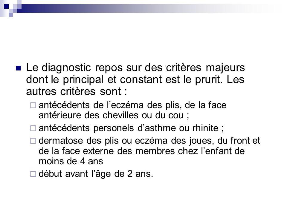 Le diagnostic repos sur des critères majeurs dont le principal et constant est le prurit. Les autres critères sont :