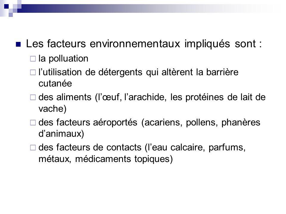 Les facteurs environnementaux impliqués sont :