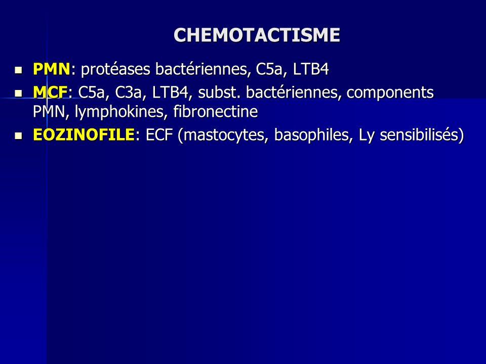 CHEMOTACTISME PMN: protéases bactériennes, C5a, LTB4