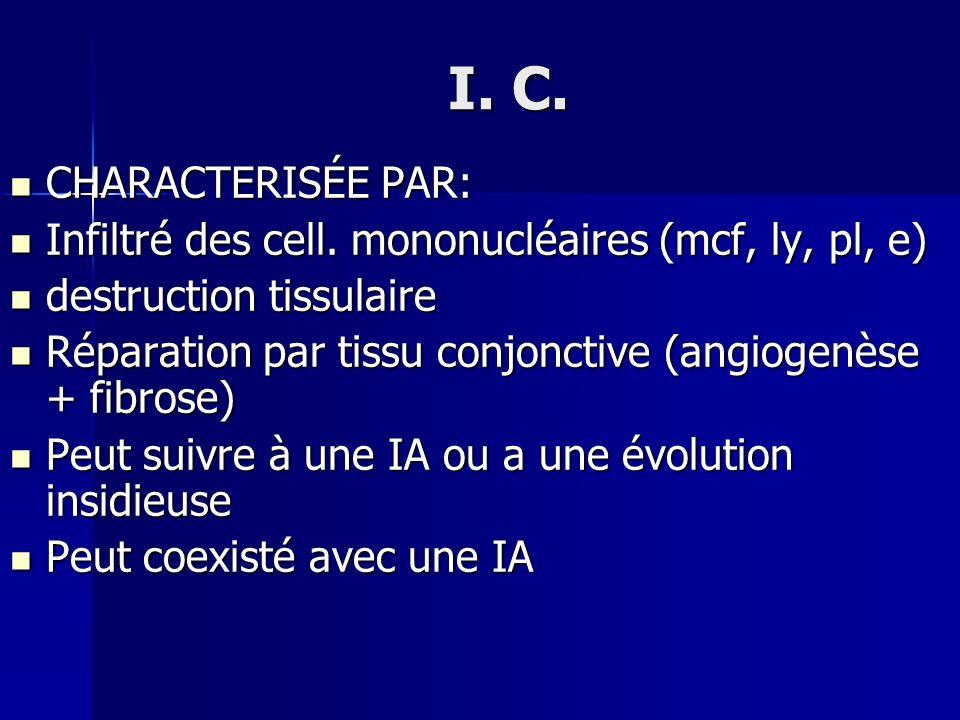 I. C. CHARACTERISÉE PAR: Infiltré des cell. mononucléaires (mcf, ly, pl, e) destruction tissulaire.