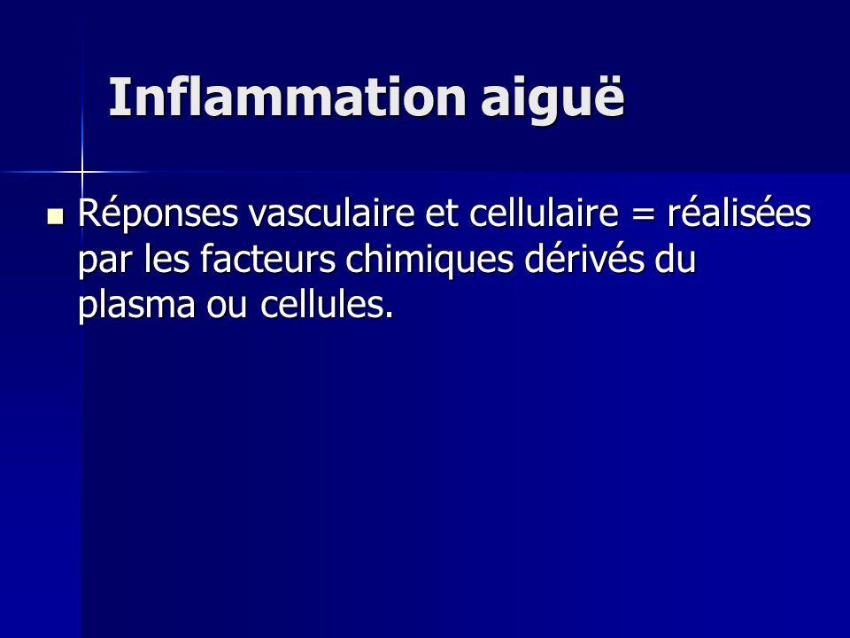 Inflammation aiguë Réponses vasculaire et cellulaire = réalisées par les facteurs chimiques dérivés du plasma ou cellules.