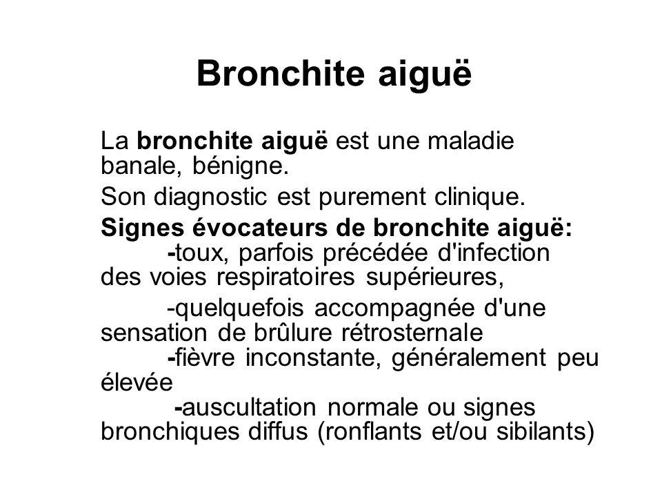 Bronchite aiguë La bronchite aiguë est une maladie banale, bénigne.