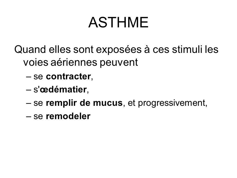 ASTHME Quand elles sont exposées à ces stimuli les voies aériennes peuvent se contracter, s œdématier,