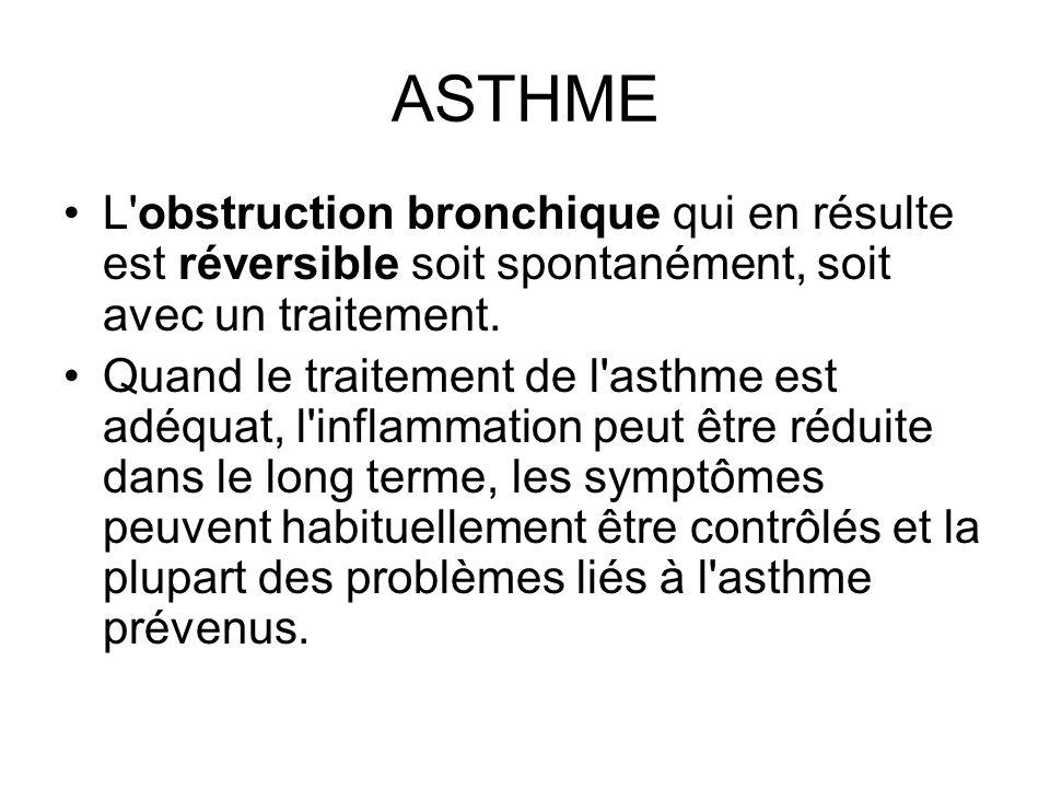 ASTHME L obstruction bronchique qui en résulte est réversible soit spontanément, soit avec un traitement.