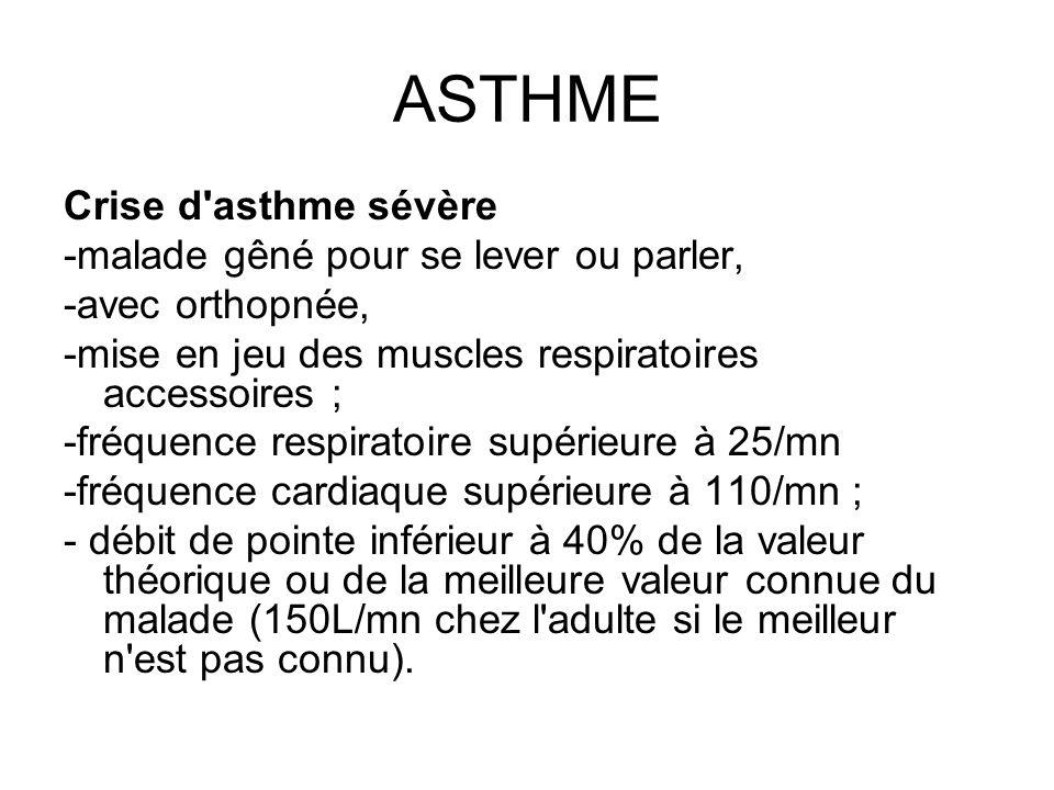 ASTHME Crise d asthme sévère -malade gêné pour se lever ou parler,