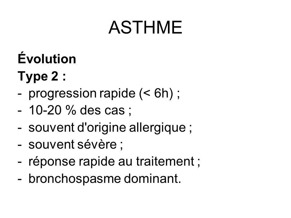 ASTHME Évolution Type 2 : progression rapide (< 6h) ;