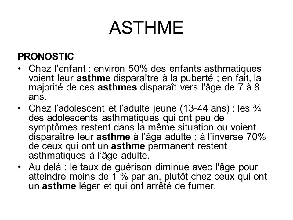 ASTHME PRONOSTIC.