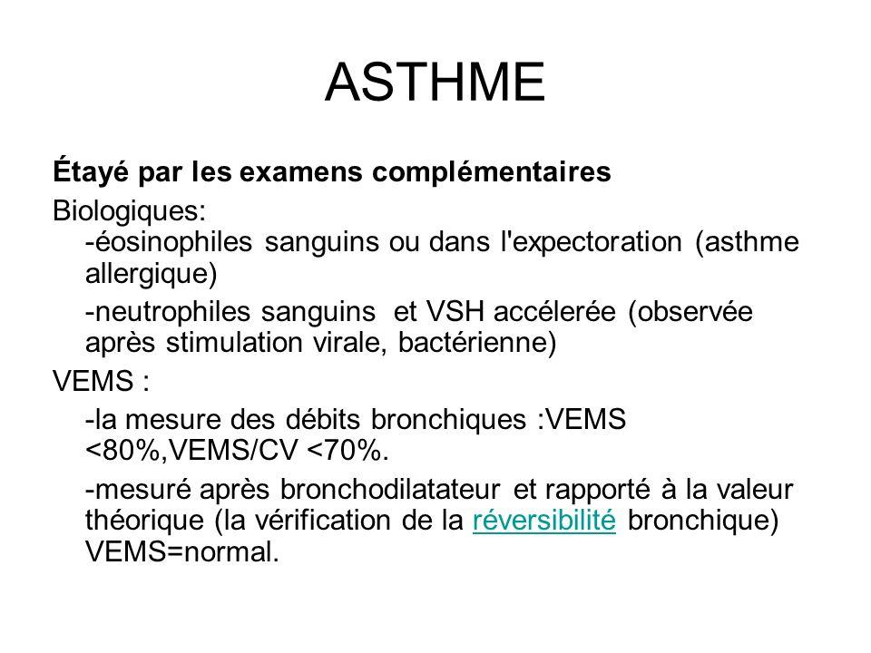 ASTHME Étayé par les examens complémentaires