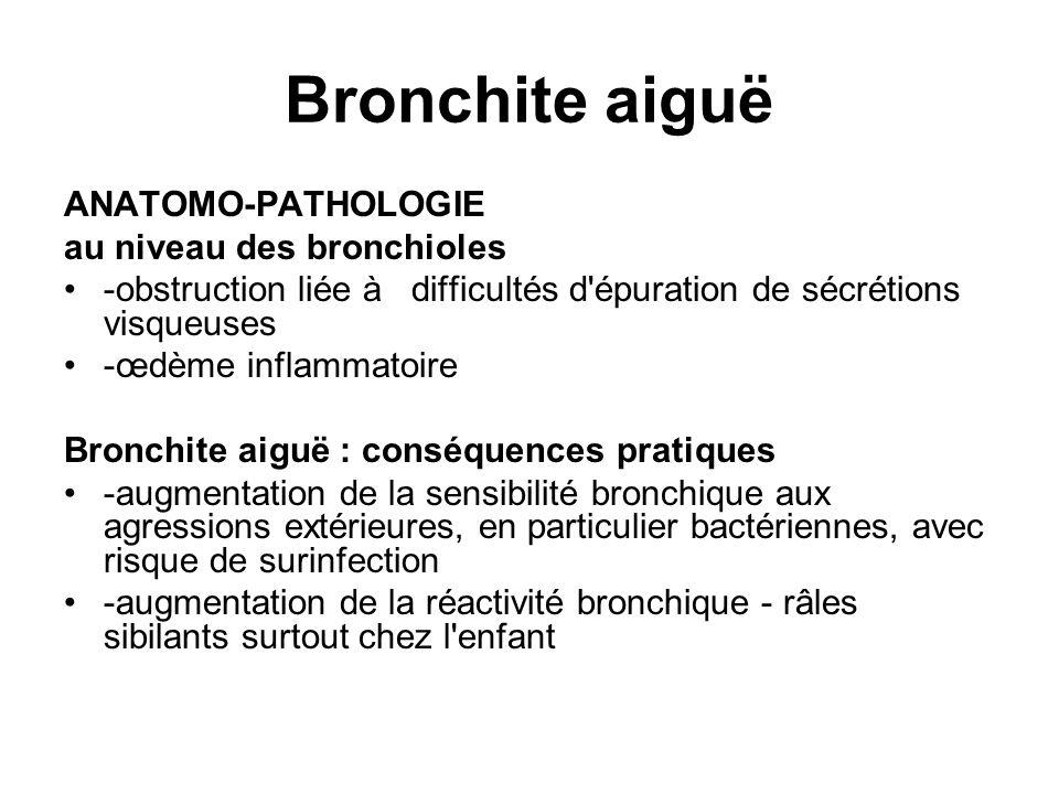 Bronchite aiguë ANATOMO-PATHOLOGIE au niveau des bronchioles