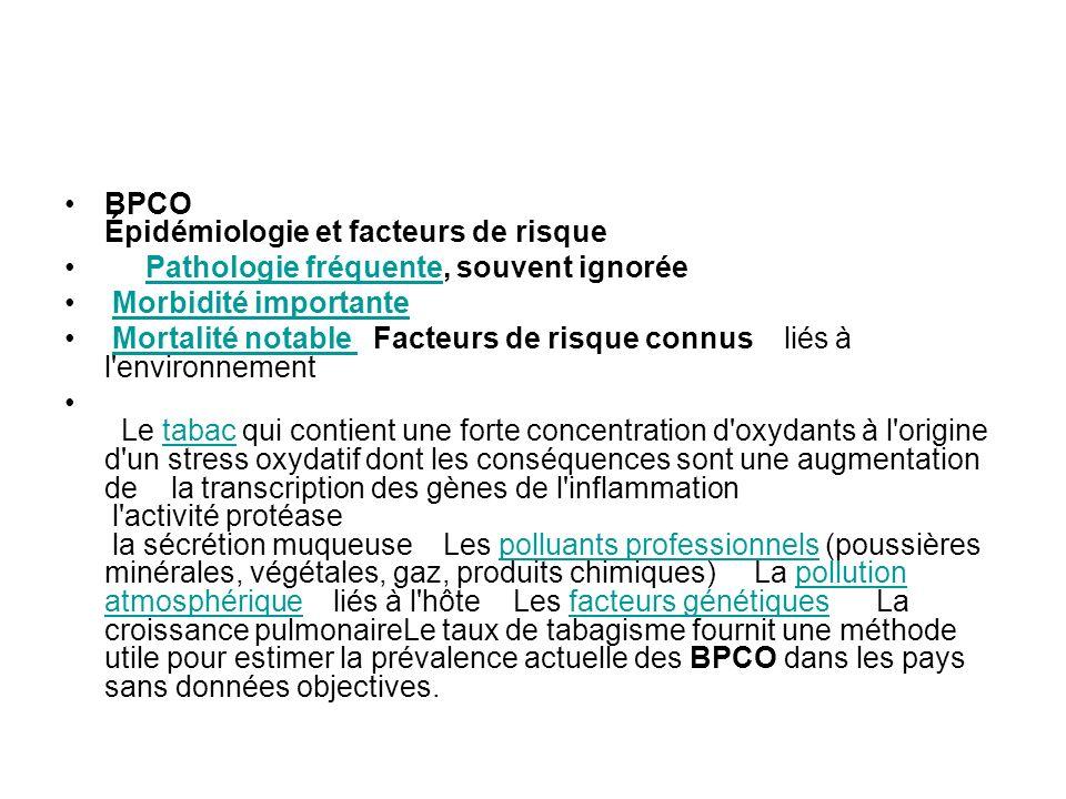 BPCO Épidémiologie et facteurs de risque
