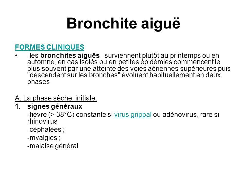Bronchite aiguë FORMES CLINIQUES