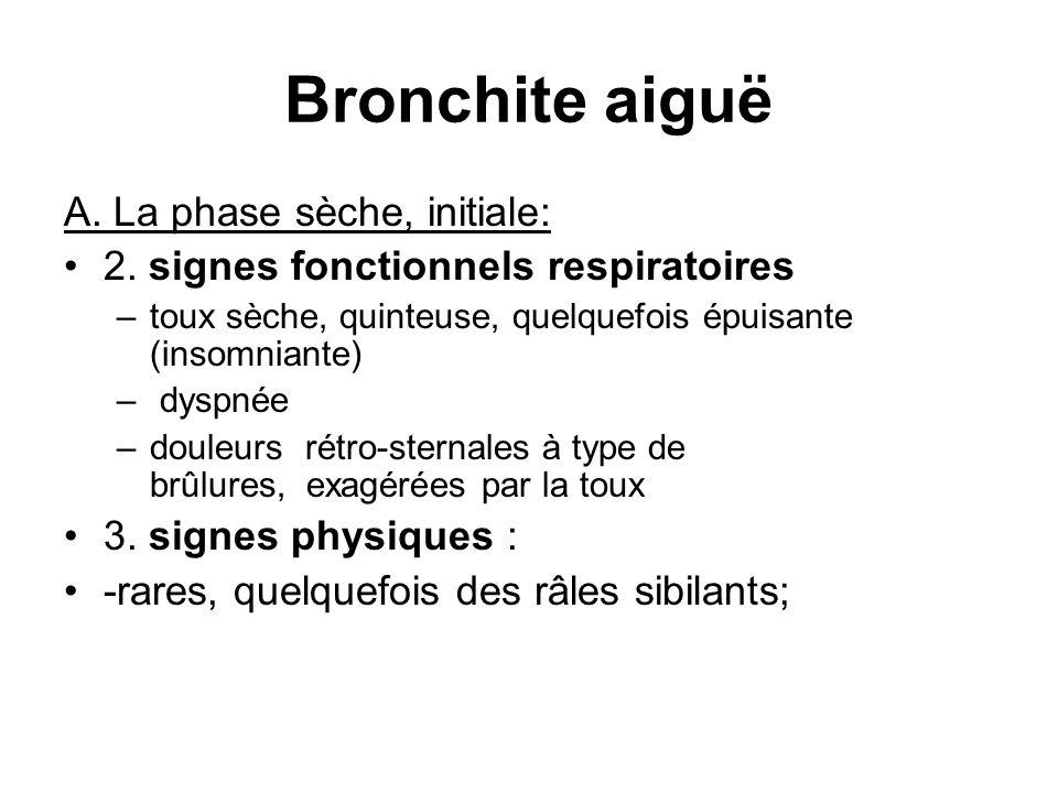 Bronchite aiguë A. La phase sèche, initiale: