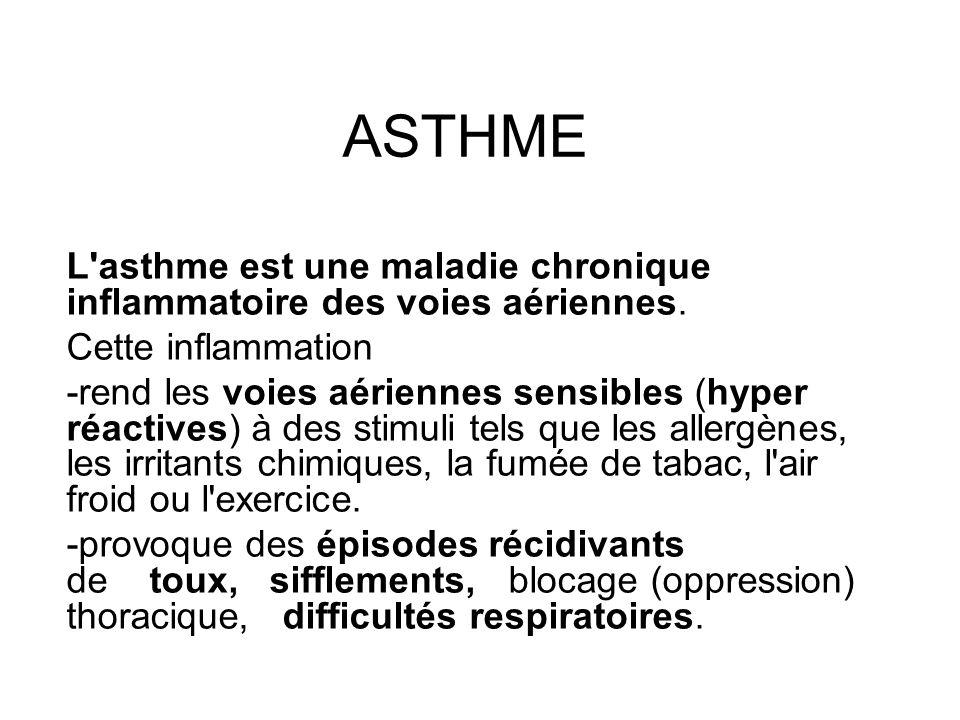 ASTHME L asthme est une maladie chronique inflammatoire des voies aériennes. Cette inflammation